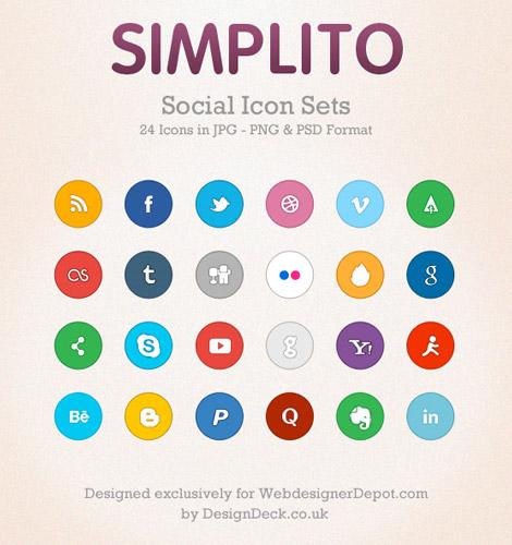 Simplito un set de iconos sociales