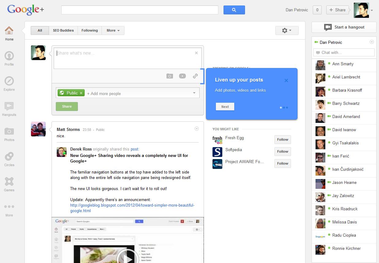 El Nuevo diseño de Google + a examen