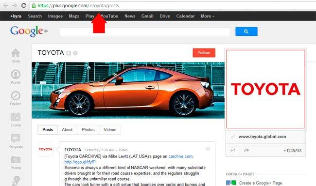 Toyota ya ha personalizado su URL en Google+