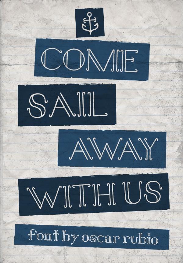 'Come Sail', una fuente gratuita de estilo retro