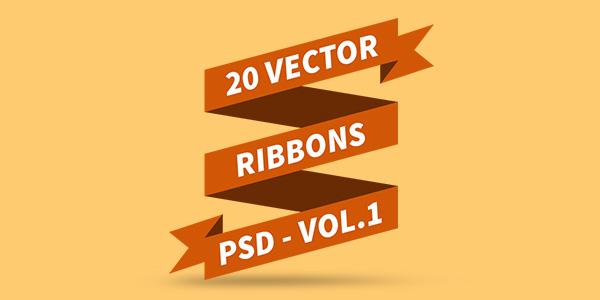 20 Vectores de Cintas o Ribbons en PSD