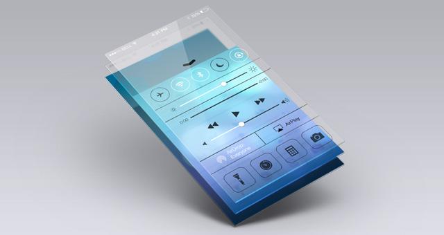 Mock-up de Apps con efecto cristal en PSD