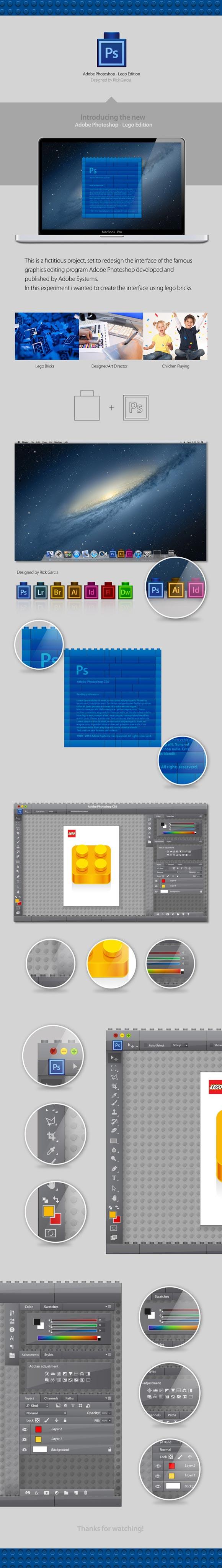 Rick García - Interfaz de Photoshop en versión Lego