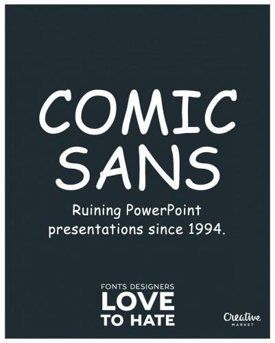 Las peores fuentes para diseñadores Comic Sans