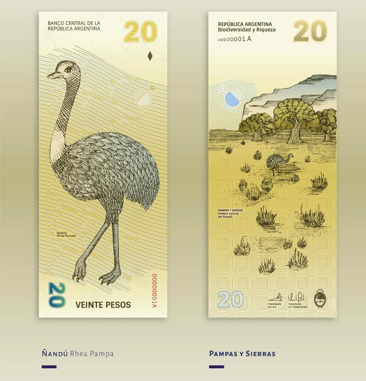 Billete de 20 pesos argentinos