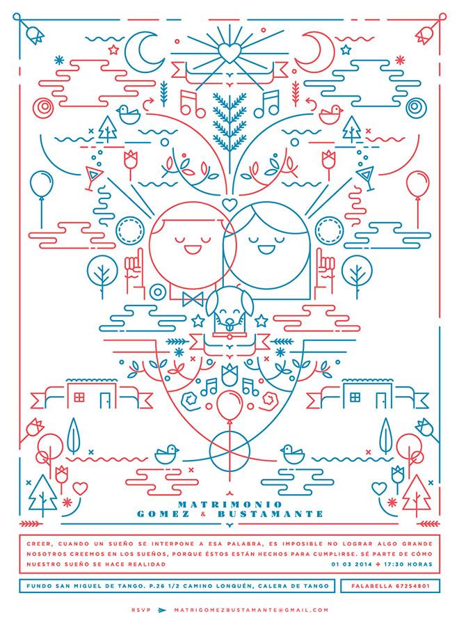 Gente que se casa - Diseño lineal colorido