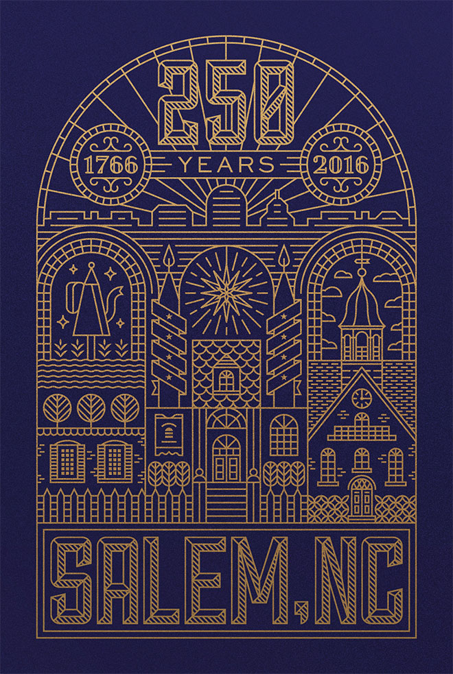 Old Salem - Diseño lineal colorido