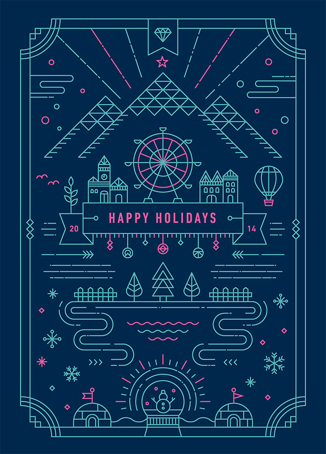 Holiday Greetings - Diseño lineal colorido