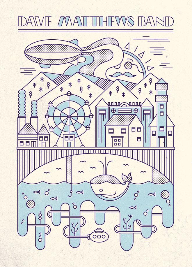Dave Matthews - Diseño lineal colorido