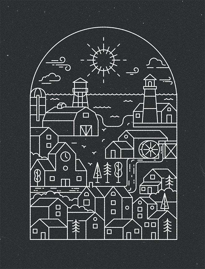 City Piece - Diseño lineal colorido
