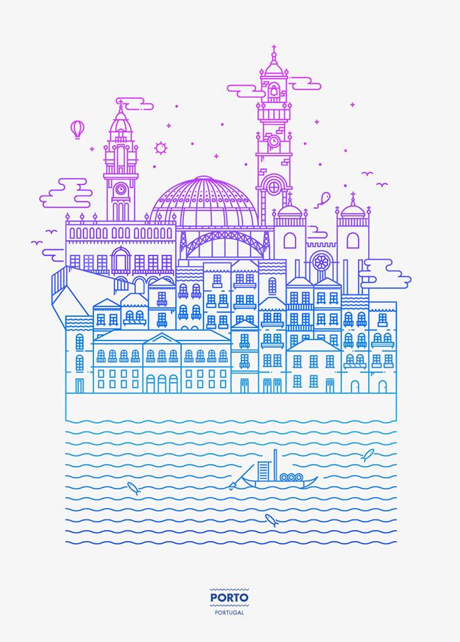 Oporto - Diseño lineal colorido