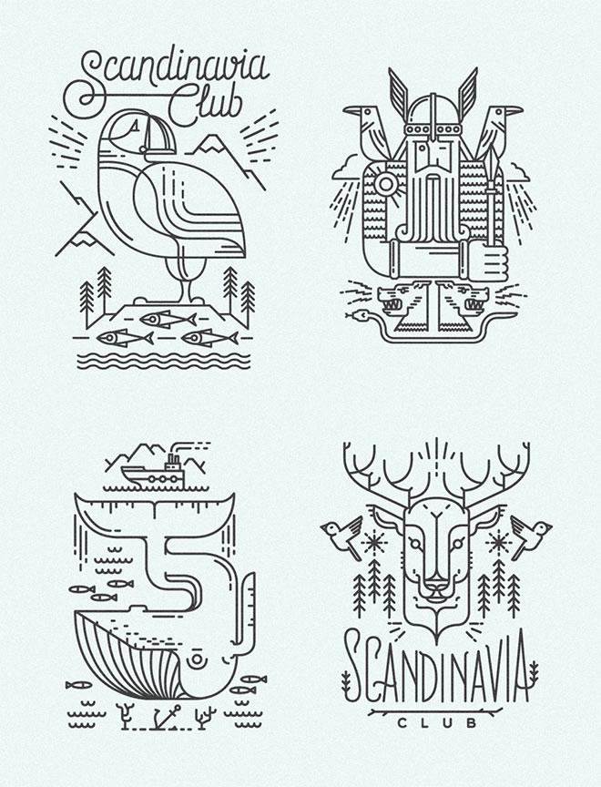 Scandinavia - Diseño lineal colorido